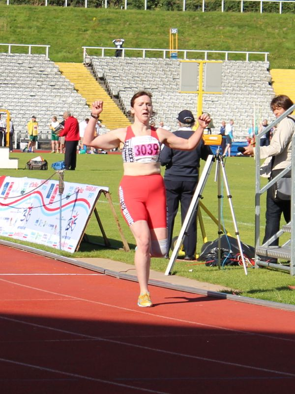Crossing the 1500m finish line