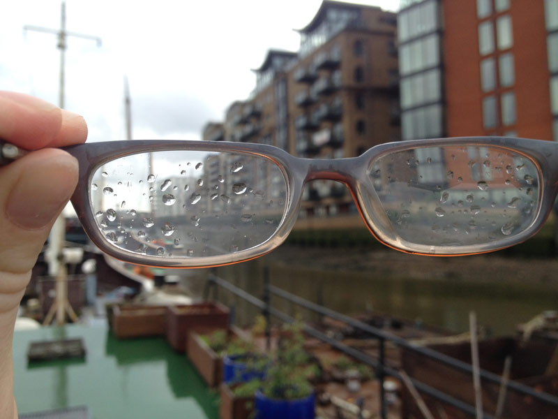 Raindropped glasses