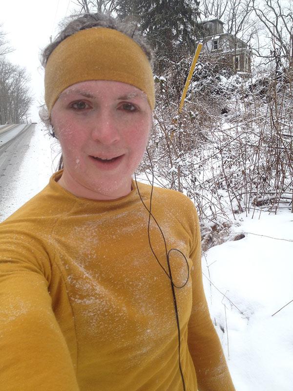 Snowy, icy selfie