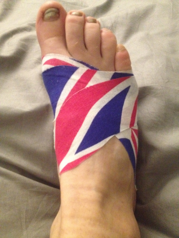 Foot wrapped in tape