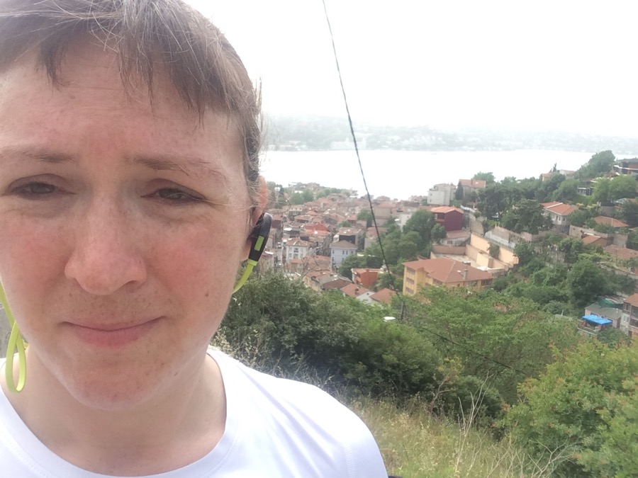 Istanbul selfie at top of hill