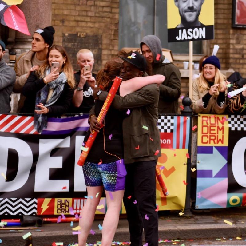 Hug with Charlie at Mile 21