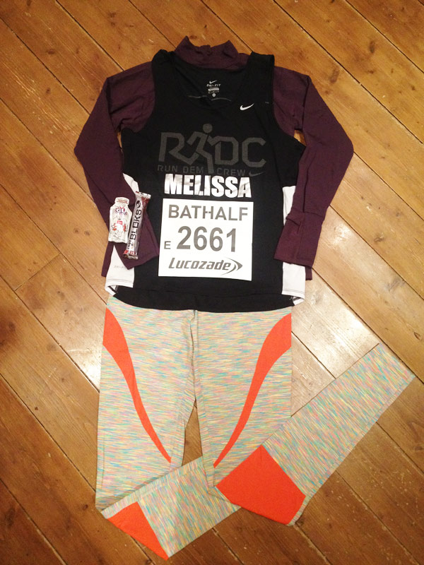 Kit laid out for Bath Half